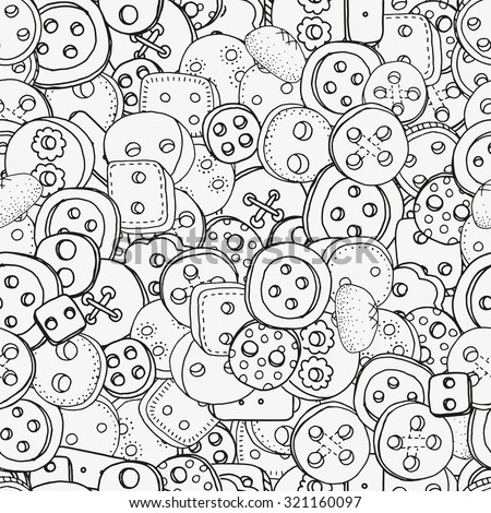 Seamless pattern with clothes buttons, hand-drawn decorative elements in vector. Pattern for coloring book. Black and white pattern.  Made by trace from sketch. Zentangle - stock vector