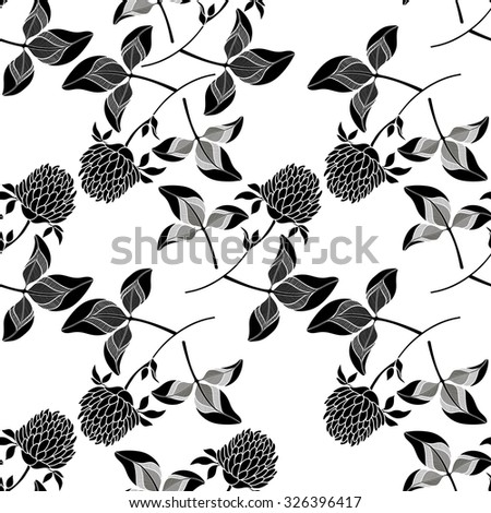 Seamless pattern with clover.  Black and white  hand-drawn vector background. - stock vector