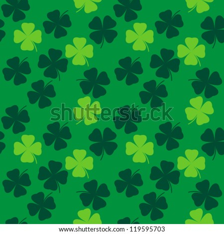 seamless pattern with clover leaves vector background - stock vector