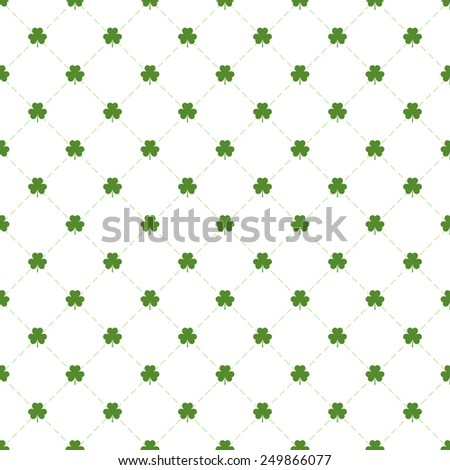 Seamless pattern with clovers leaves and stripes in rhomb shape for design of St. Patricks Day items. Vector repeating background for greeting card, cover, presentation, web site, banner, etc. - stock vector