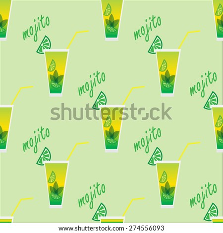 Seamless pattern with cocktail mojito - stock vector
