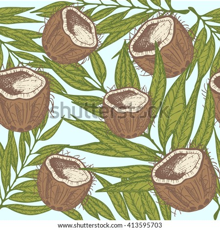 Seamless pattern with coconut and palm leaves. Coconut Repeating Summer tropical print background texture. Summer tropical Cloth design.Coconut Wallpaper, wrapping.Coconut vector seamless pattern.  - stock vector