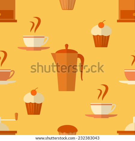 Seamless pattern with coffee and cakes in flat style - stock vector