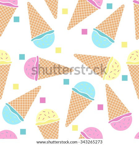 Seamless pattern with cold ice cream cones and confetti. Sweet delicious dessert background. Vector hot summer illustration. - stock vector