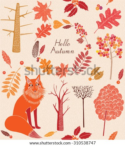 Seamless pattern with colored autumn leaves, trees and fox.Vector illustration. - stock vector
