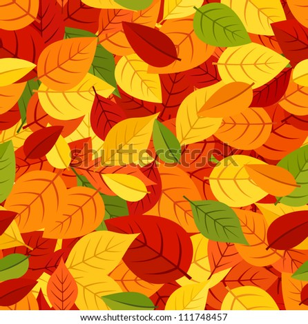 Seamless pattern with colored autumn leaves. Vector illustration. - stock vector