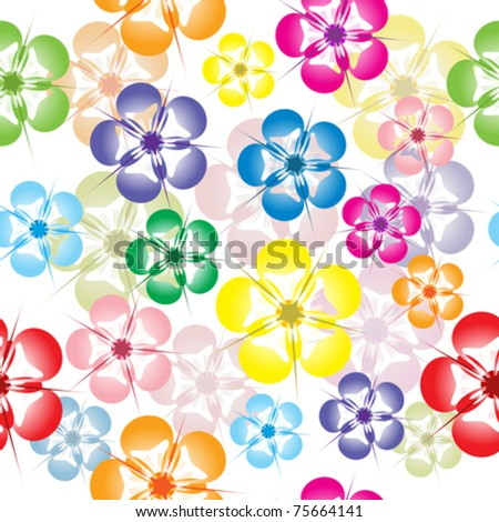 Seamless pattern with colored flowers - stock vector