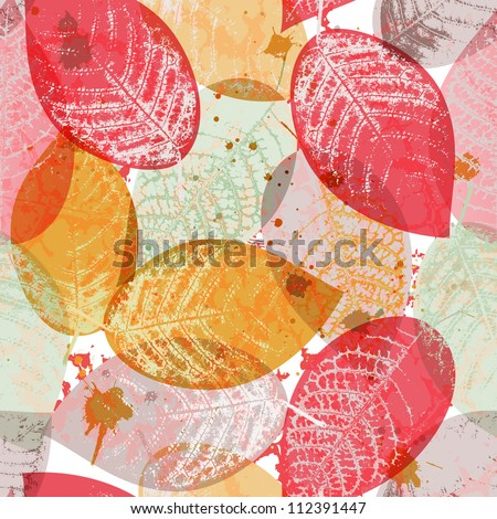 Seamless pattern with colored leaves and blots in grunge style. EPS 10 vector illustration - stock vector