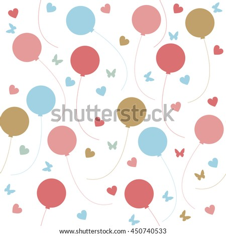 Seamless pattern with colorful balloons, hearts and butterflies isolated on white background.  - stock vector