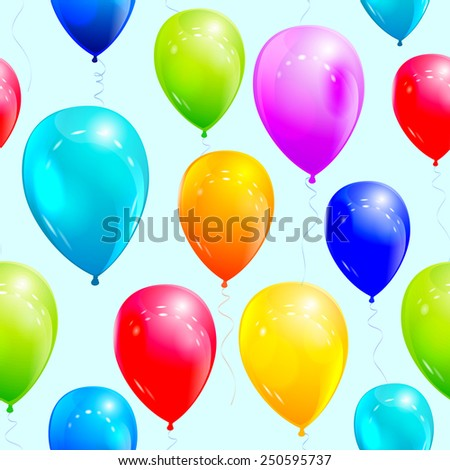 Seamless pattern with colorful balloons on the light blue background. - stock vector