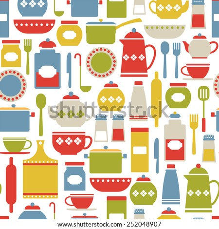 seamless pattern with colorful cooking icons. isolated on white - stock vector
