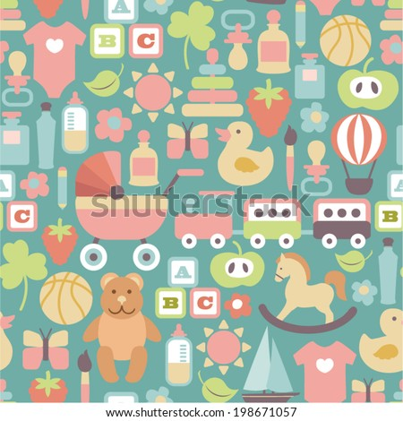 seamless pattern with colorful flat baby icons on blue background - stock vector