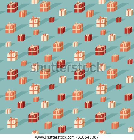 Seamless pattern with colorful flat gift boxes vector - stock vector