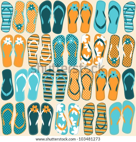 Seamless pattern with colorful flip flops. - stock vector