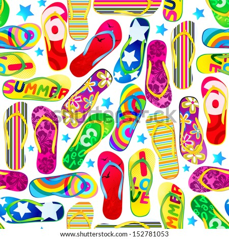 Seamless pattern with colorful flip flops./  Beach Sandals  - stock vector