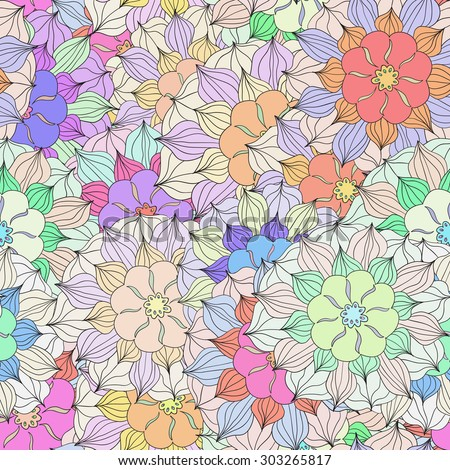 Seamless pattern with colorful Flower. Vector illustration 3 - stock vector