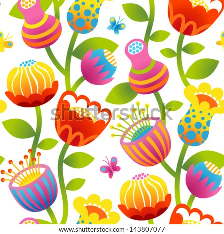 Seamless pattern with colorful flowers and butterflies. Bright flowers on white background. - stock vector