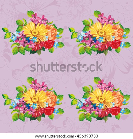 Seamless pattern with colorful gerbera flowers Vector Illustration EPS8  - stock vector