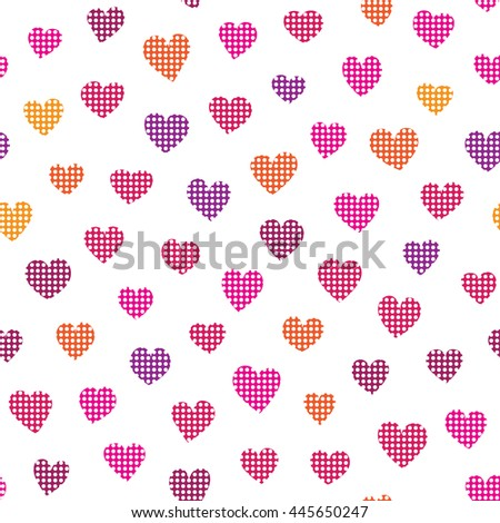 Seamless pattern with colorful hearts on a white background. Vector repeating texture. - stock vector