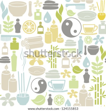 seamless pattern with colorful spa icons - stock vector