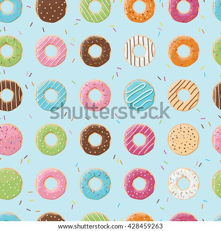 Seamless pattern with colorful tasty glossy donuts, vector illustration - stock vector