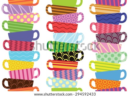 Seamless pattern with colorful tea or coffee cups - stock vector