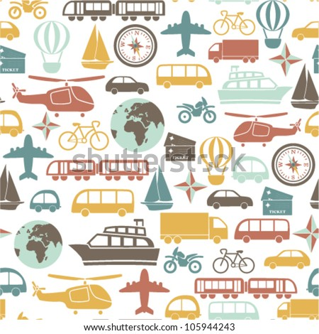 seamless pattern with colorful transport icons - stock vector