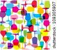 Seamless pattern with colorful wine glasses - stock vector