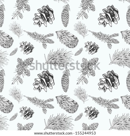 Seamless pattern with cones and fur-tree branches, monochrome - stock vector