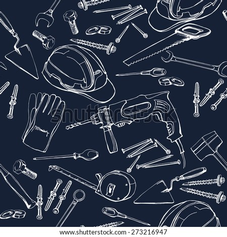 Seamless pattern with Construction and repair tools.. Vector illustration. - stock vector