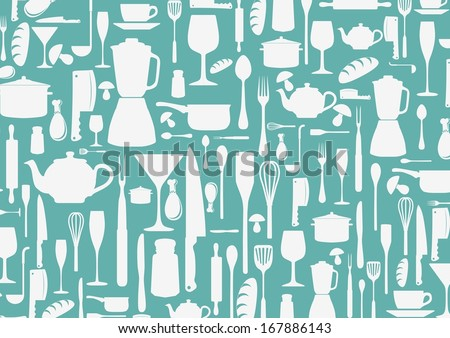 seamless pattern with cooking icons background - stock vector