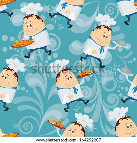Seamless pattern with cooks with dishes, cartoon characters on blue abstract background. Eps10, contains transparencies. Vector - stock vector