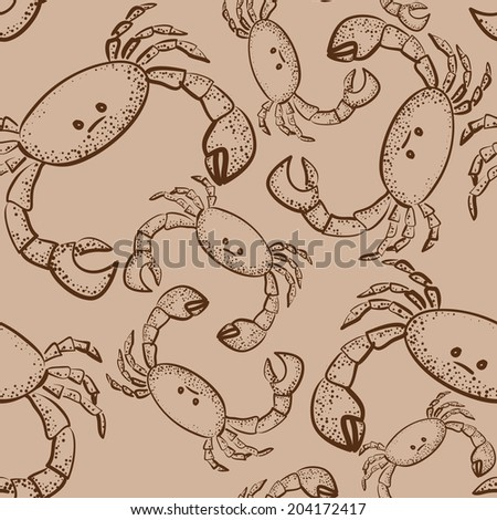 seamless pattern with crabs on brown paper - stock vector