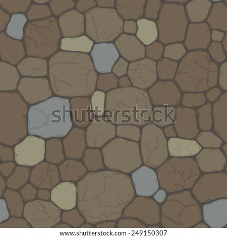 Seamless pattern with cracked stone. Vector seamless background of  beige, gray, and  brown  stones with  cracks  - stock vector