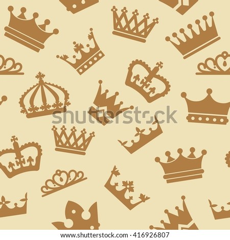 Seamless pattern with crowns. Vector illustration for kings - stock vector