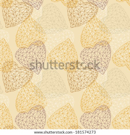 Seamless Pattern with Crystal Hearts - stock vector