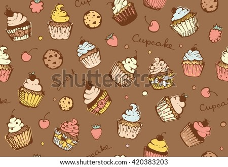 Seamless pattern with cupcakes, biscuits and berries - stock vector