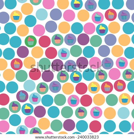Seamless pattern with cupcakes.  Cute vector   illustration. - stock vector