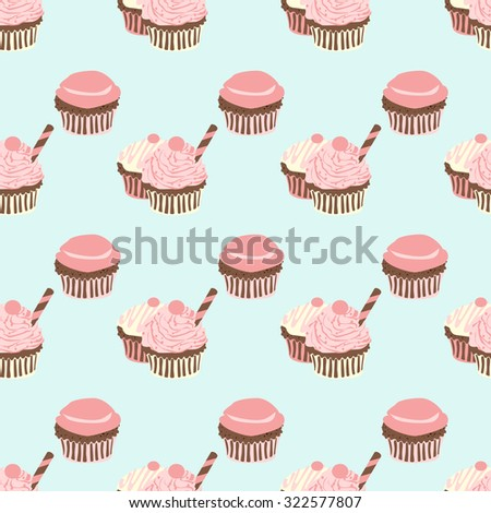 seamless pattern with cupcakes in pastel colors, vector illustration, vintage - stock vector