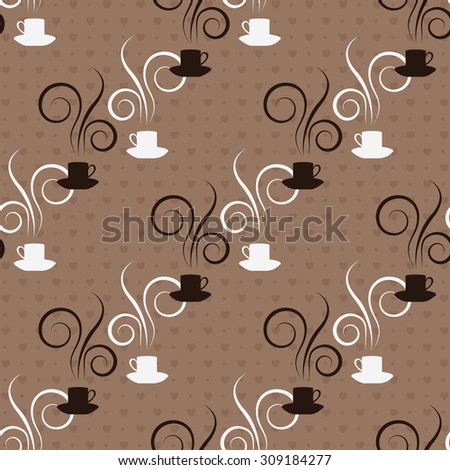 Seamless pattern with cups on a brown background - stock vector