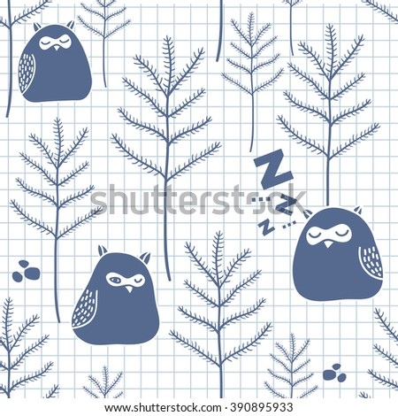 Seamless pattern with cute birds. Vector illustration of sleeping owls. - stock vector