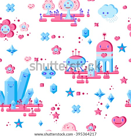 Seamless pattern with cute cartoon cloud, scull, flower, heart, robots, trees, crystals and small characters. Pink, light pink, blue, light blue, sky blue, vinous, white background. - stock vector