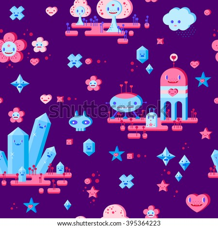 Seamless pattern with cute cartoon cloud, scull, flower, heart, robots, trees, crystals and small characters. Pink, light pink, blue, light blue, sky blue, vinous, dark violet background. - stock vector