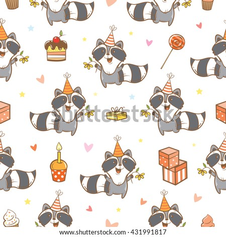 Seamless pattern with cute cartoon raccoons  on  white  background. Funny forest animals. Birthday gifts, sweets and party hats. Children's illustration. Vector image. - stock vector