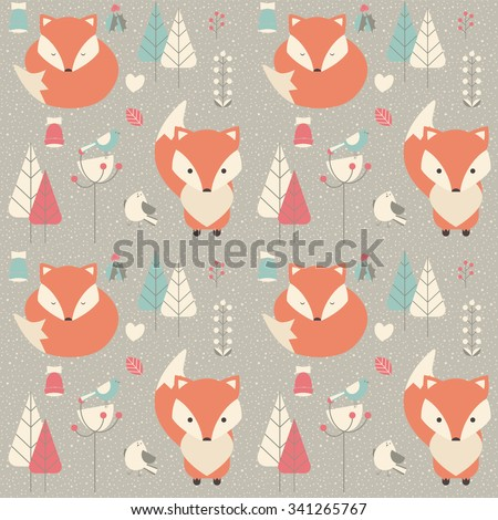 Seamless pattern with cute Christmas baby fox surrounded with floral decoration, vector illustration - stock vector