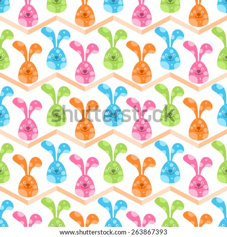 Seamless pattern with cute colorful bunnies - stock vector