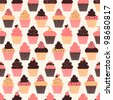 Seamless pattern with cute cupcakes. - stock vector