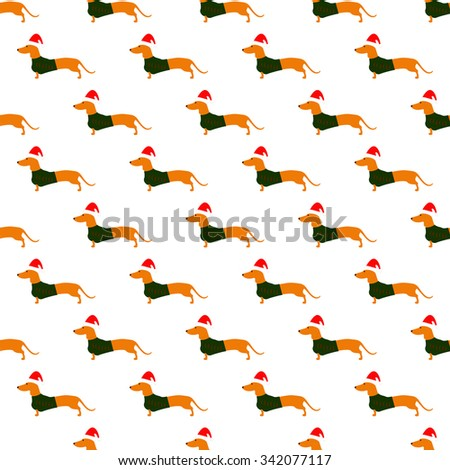 Seamless pattern with cute dachshund wearing Christmas suit, green jersey decorated with red stripes and red Christmas hat arranged in staggered rows isolated on white background - stock vector