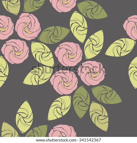 Seamless pattern with cute decorative roses for design fabric, linen, wallpaper and more designs. Seamless flower background pattern. Floral fabric vintage wallpaper. Cute backdrop. - stock vector