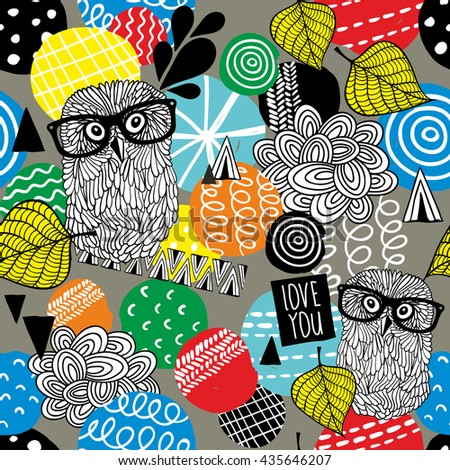 Seamless pattern with cute doodle owls and design elements. Vector illustration. - stock vector